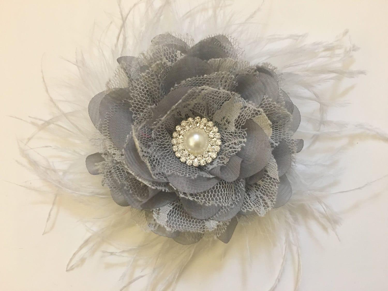 Silver Gray Fascinator Bridal Hair Flower Feather Clip Gray Hair