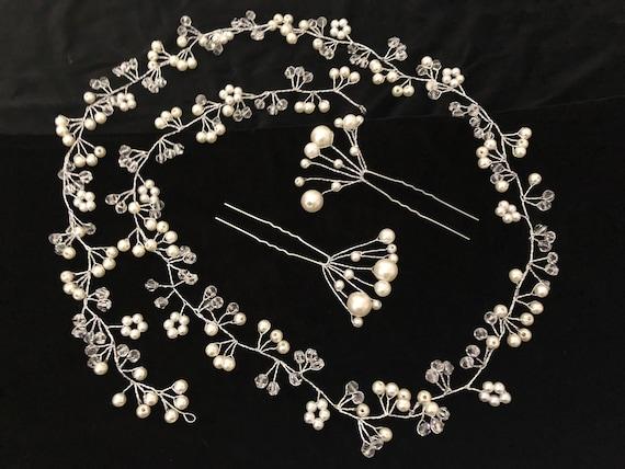 Wedding Crystal Pearl Silver Vine, Bridal Crown,Crystal Pearl Flower Hair Jewelry, Wedding Crown, Handmade Hair vine