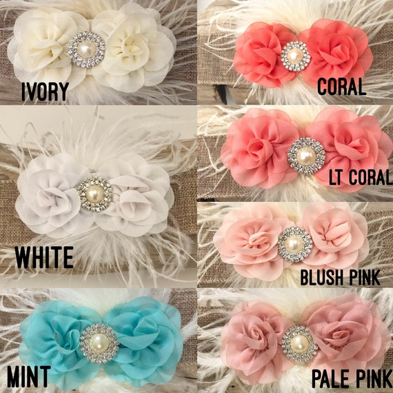 Flower clip, Small Flower Girl Clip, All Colors,Pink Blush, White, Ivory, Blush Pale Pink, Coral, Lt Coral, Mint Flower Clip, Baby Headband
