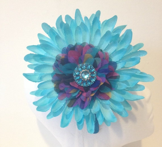 Turquoise Flower Headband. Summer Headband, Pageant Headband, Fancy Girl BoutiqueNYC Handmade Headbands