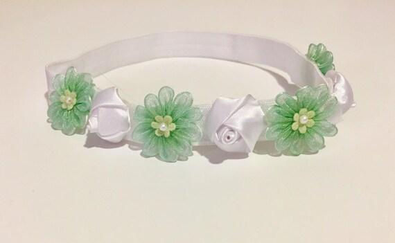 White Mint Baby Headband, Mint Headband, Flower Girl Headband, Baptism Headband, White Satin Rose, Mini Organza Flower Crown, Newborn