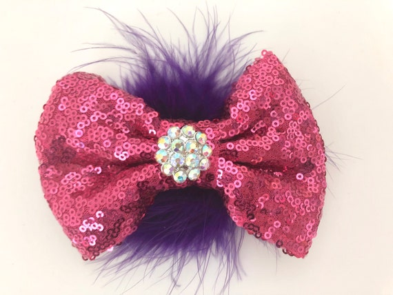 Dance Costume Hair Bow, Pink Purple Feather Clip, Dance Hair piece, All Colors, Black, Pink, Gold,Silver, Red Bow, Dance competition clip