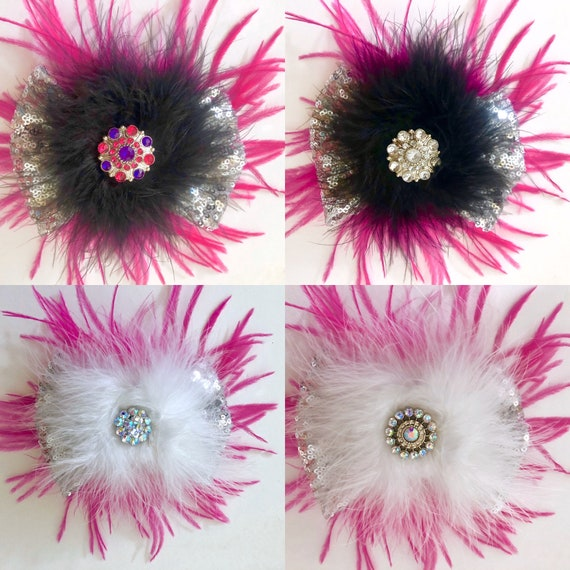 Dance Costume Hair Accessories, Black Hot Pink Clip, White, Black Pink Clip, All Colors, Fuchsia  Pink, Crystal Feather Hair Clips,