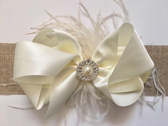 Ivory Satin Hair Bow, Ivory Pearl Feather Hair Bow, All colors,Flower Girl Hair Accessories,Bridal Hair Bow, Wedding Hair  Accessories