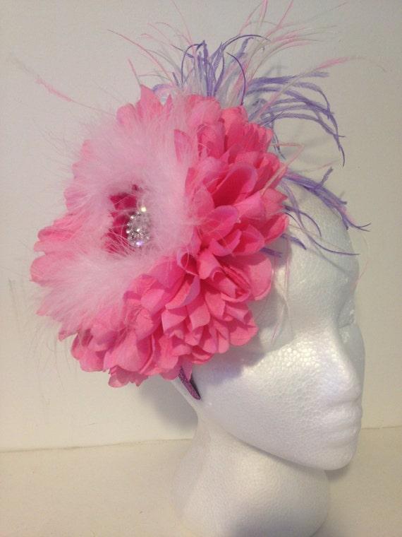 Pink Headband Fascinator, Derby Headband, Birthday Headband, Flower Girl Headband, Pageant Headband, Dance Costume, Derby Hat Headband