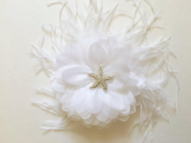 Starfish flower clip bridal hair fascinator white hair flower starfish flower clip bridal hair fascinator white hair flower feather fascinator destination beach wedding flower girl clip mightylinksfo
