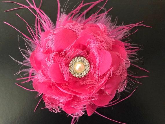Pink Floral Hair Clip, Bridal Flower Clip, Hot Pink Lace Clip, Flower Girl Clip, White, Ivory, Mint, Lavender Clips, Custom Bridal Hair Clip