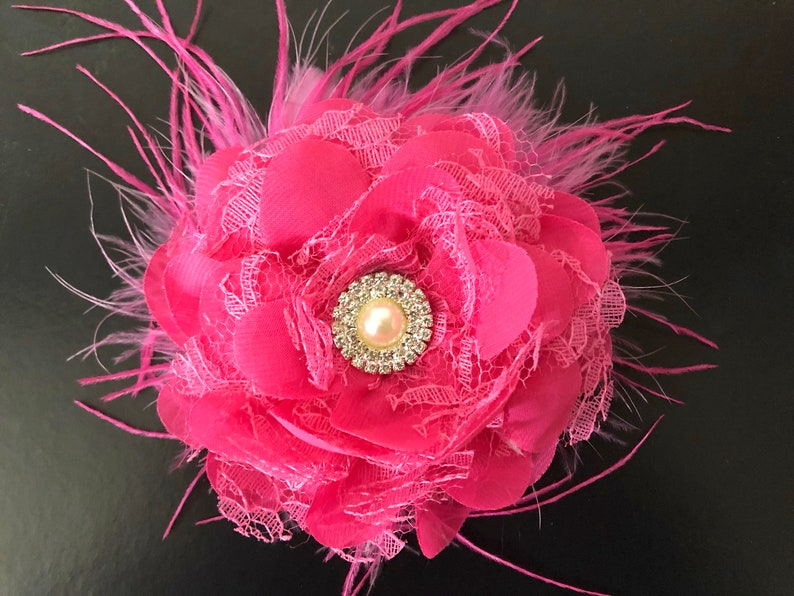 6b7804aa0c2a Pink Floral Clip Bridal Flower Clip Hot Pink Clip Flower