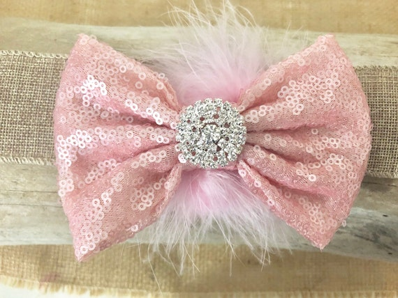 Pale Pink Hair Bow, Vintage Hair Bow, Flower Girl Bow, Dance Costume, Bridal Hair Accessories, All Colors, Rose Gold, Silver, Champagne Bow