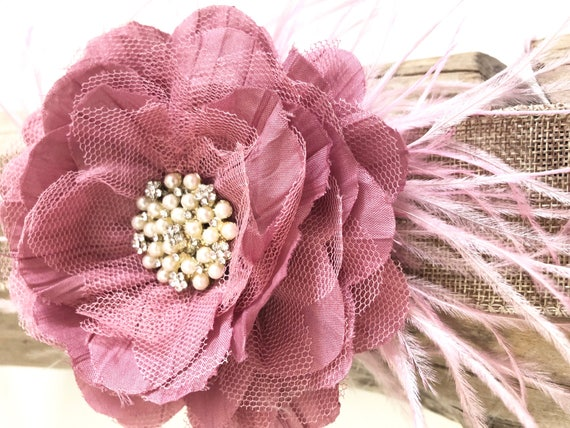 Dusty Pink Hair Clip,Floral Ivory Clip,Blue Floral Clip,Black Floral Feather Clip Headband,Baptism Headband, Flower Girl,All Colors