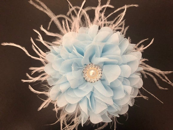 Blue Wedding Fascinator, Blue Flower hair Clip, Kentucky Derby Fascinator, Wedding Headpiece, Bridal Flower Clips,White, Pink, Peach Florals