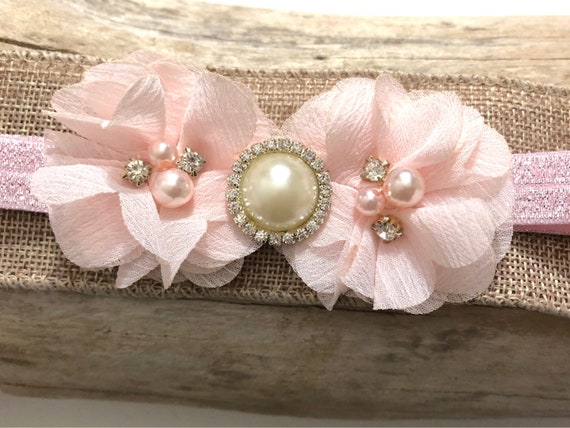 Pale Pink Baby Headband, Soft Pink Baby Headband, Flower Girl Headband, Baptism Headband, Baby Hair Accessories, Baby Girl Pink Hairband
