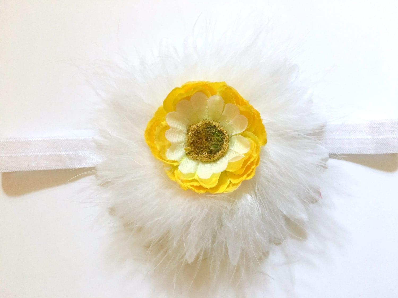 Daisy Flower Headband Yellow White Daisy Marabou Flower Headband