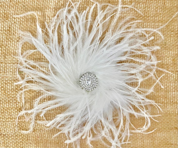 White Feather Hair Clip, Deco Wedding Fascinator, Bridal Fascinator, Crystal Wedding Hair Clip, Feather Crystal Hair clips. All colors