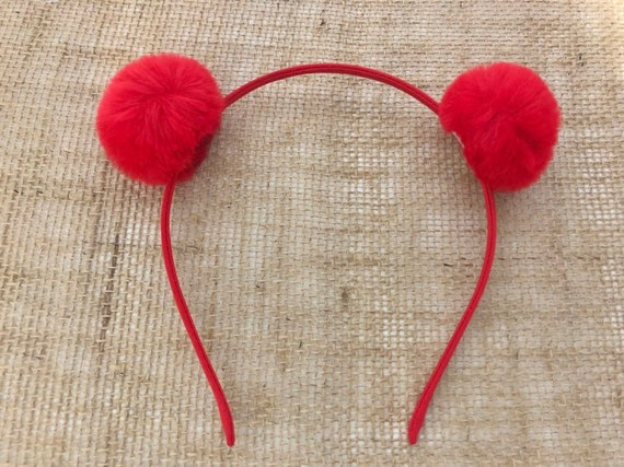 Valentine's Day Girls Headband, Red Rabbit Headband, Pink Pom Pom Headband, Double Pom Pom Headband, Pink, Cream ,Black Pom Pom Headband,