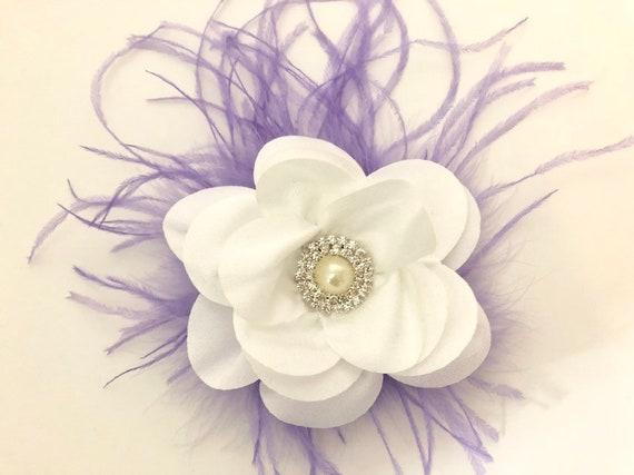 Lilac White Floral Hair Clip, Lavender White Flower Pearl Clip, Flower Girl Clip, Bridal Flower Clip, White Lilac Hair Clip for Girl, Custom