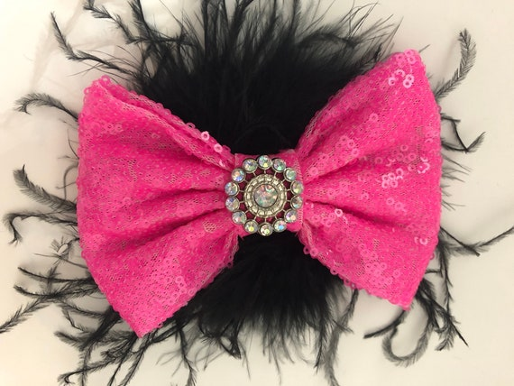 Bubble Gum Pink Hair Bow, Shocking Pink Dance Costume Hair piece,Hot Pink Bow, Pink Feather Clip, Hot Pink Black Bow, Custom Dance Costume