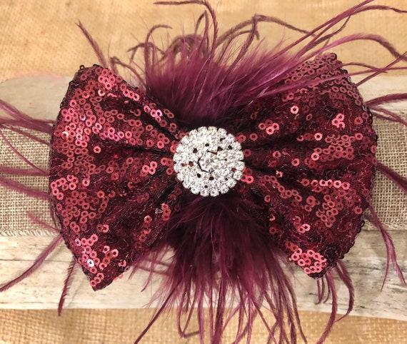 Burgundy Wine Hair Bow, Flower Girl Bow, Maroon Bow, Portrait Photo Hair Bow, Wedding Bow, Rhinestone Bow, Red Bow, Black Bow,