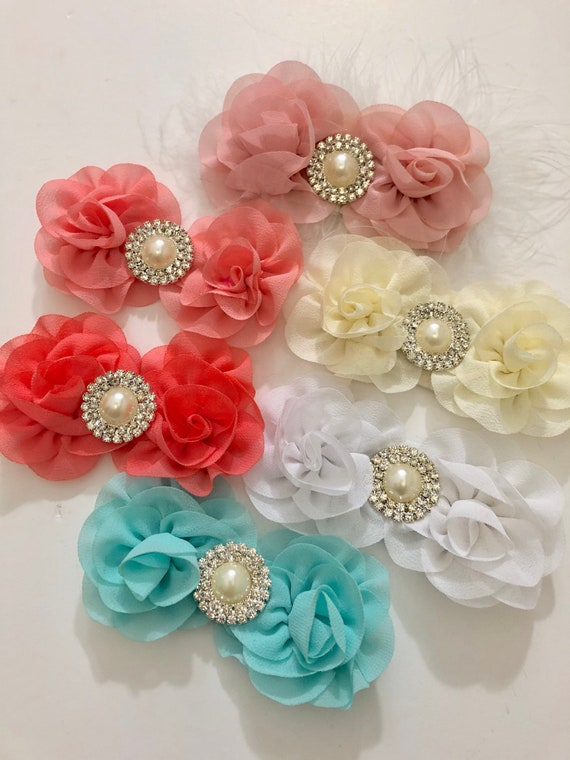 Baby Floral Hair clip,All colors, Baby Chiffon Pearl Clip, White, Ivory, Pale Pink, Coral, Mint Flower Pearl Clip, Baptism Baby Headband