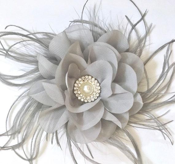 Silver Floral Hair Clip, Grey Flower Clip, Wedding Flower Bridal Hair Clip, Feather Fascinator,Derby Hat Clip, Flower Girl Clip,Chiffon Clip