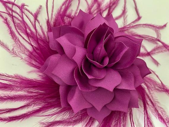 Raspberry Hair Clip, Ivory Flower Clip, Taupe Hair Clip, Blush Hair Clip, Feather Floral Wedding Hair Clip, Crystal Clips, Wedding Headpiece