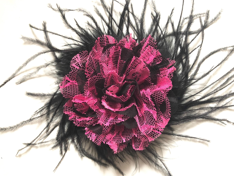 Pink Black Hair Clip Flower Clip Fuchsia Pink Hair Clip Black