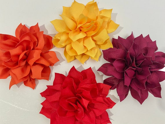Baby Floral Hair Clips, Orange, Yellow, Green, Burgundy Flower Hair Clips, Teal, Red, Coral Floral Hair Clips, Fall Harvest Hair Accessories