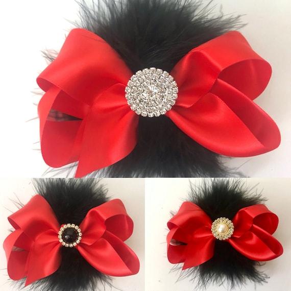 Red Black Hair Bows, Satin Hair Bows, All Colors, Black, Silver Gray, Navy, Royal Blue, White, Ivory, Purple, Lavender, Pink Satin Hair Bows