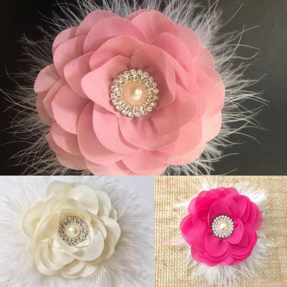 Baby Flower Hair Clips, Dusty Pink Rose Clip, Ivory Flower Clip, Beige Hair Clip, Coral Floral Clip, WeddingFlower Girl Hair Accessories