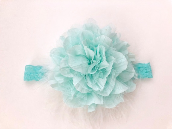 Floral Mint Headband, Ivory, Mint, Dusty Rose Baby Headband, Headband, Baptism Headband, Christening, Baby Gift,