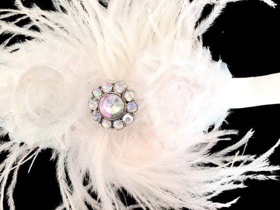 White Feather Headband, Flower Girl Headband, Baby Boutique Headband, Dance Costume Feather Headband, Holiday Headband,  Baptism Headband