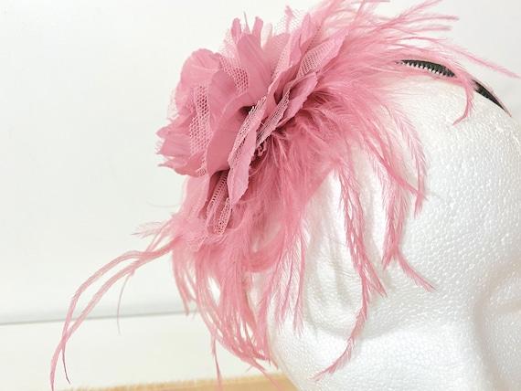 Dusty Pink Rose Fascinator Headband, Wedding Fascinator, Kentucky Derby Fascinator, Navy Wedding Headpiece, Bridal Flower Hair Piece