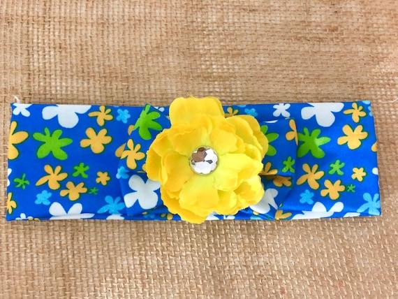 Floral Baby Turban Headband, Baby Turban, Spring Turban, Yellow Turquoise White Flower Turban, Baby Gift for Girl Headband, Yellow Turban