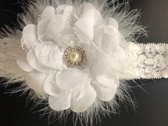 Baptism Headband, White Flower Lace Headband, White Flower Hair Clip, Baptism Baby Headband, White Flower Clip, Christmas Hair Clip