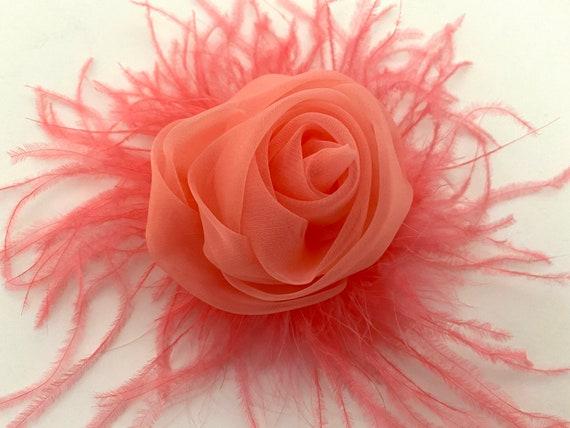 Coral Flower Hair Clips, Easter Flower Clip, Spring Coral Flower Hair Clip, Organza Rose Hair Clip, Blue Rose Hair Clip,Wedding Bridal Hair