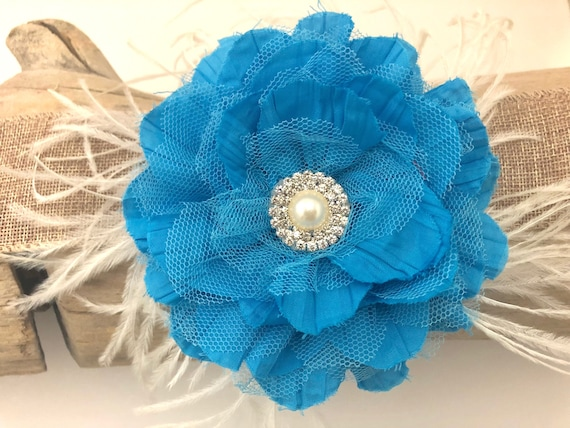 Turquoise Floral Hair clip, Blue Flower Hair Clip, Ivory clip, Mauve Pink Clip, Flower Feather Fascinator Clip
