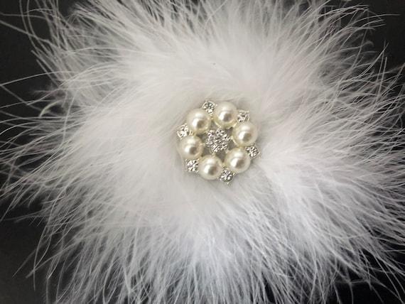 Crystal Pearl Hair Clip, White Feather Pearl Clip, Communion Crystal Pearl Clip, White Feather Clip, Bridal Hair Clip, Dance Costume Clips,