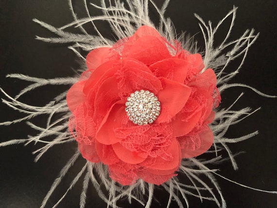 Coral Floral Fascinator Hair Clip, Ivory Floral Clip, white  Floral Clip, Derby Hat Clip, Bridal Wedding Flower Girl Hair Accessories