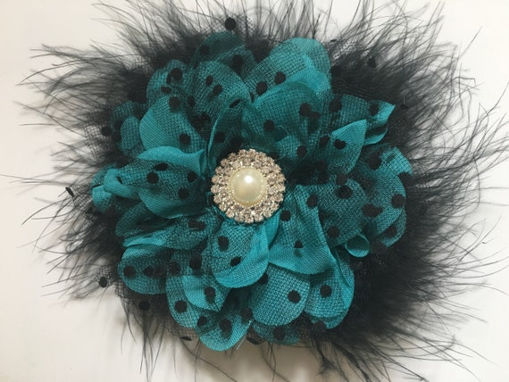 Teal Black Holiday Flower Clip, Teal Black Hair Clip, Red Black Flower clip, Bridal Flower Clip, Holiday Clip, Hair Jewelry, Lace Clip