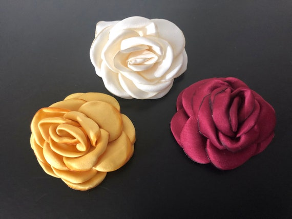 Mini Floral Clips, Cream Ivory, Gold, Wine Silky Rose Flower Girl Clip, Baby Flower Hair Clippie, Bridal Flower Clip, Baptism Baby Clip