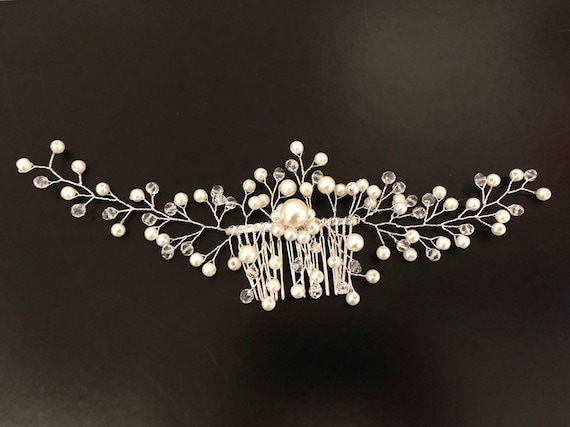 Wedding Hair Comb, Bridal Hair Comb, Crystal Pearl Comb, Wedding Hair Jewelry, Wedding Headpiece, Silver Hair Comb, Pearl Crystal Hair piece