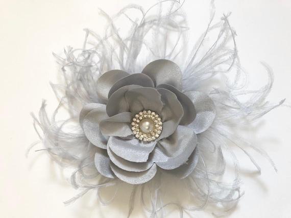 Silver Flower clip, Bridal Hair Clip, Flower Girl Clip, Wedding Flower Clip, Brides Maid clip, Dance Costume, Birthday Clip,