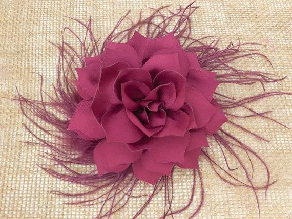 Burgundy Flower Hair Clips, Wine Hair Clip. Dusty Rose Clip, Ivory Hair Clips,Taupe Hair Clips,Blush, Bridal Wedding Flower Hair Clips,