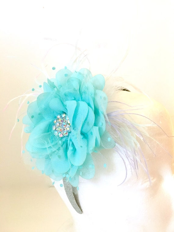 Aqua Blue Fascinator Headband, Wedding Bridal Headband Flower Girl Headband, Rhinestone Headband, Free shipping, Holiday Headband