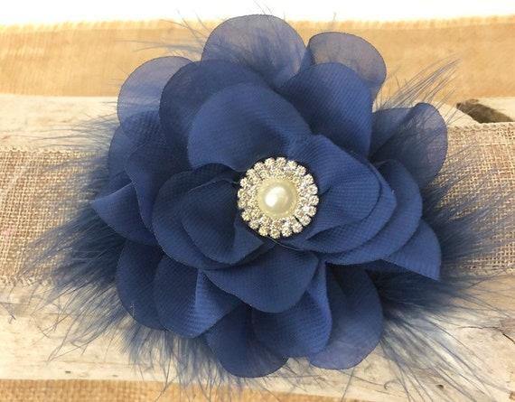 Navy Clip, Navy Flower Clip, Holiday Flower Clip, Navy Headband, Baby Blue Headband, Blue Clip, Flower Girl Clip, Wedding Pearl Hair clip,