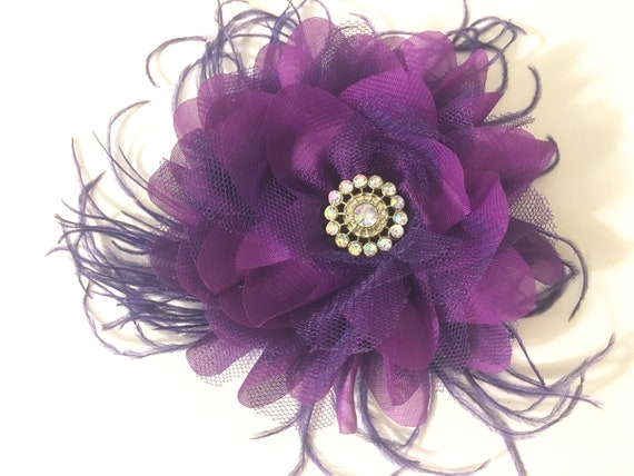 Purple Fascinator, Wedding Floral Hair Clip, Kentucky Derby Fascinator, Flower Girl Accessories, Crystal Feather Hair Clip