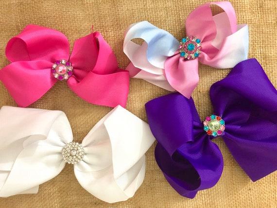 Hair Bow Gift Set for girls, Birthday Gift, Valentine Gift, Rhinestone Hair Bow, Pink Purple White Rainbow  Hair Bow, Birthday Gift Set