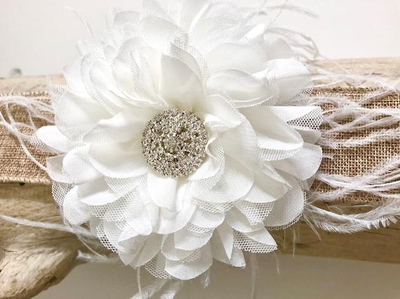 White flower clip bridal flower hair clip flower girl hair etsy image 0 mightylinksfo