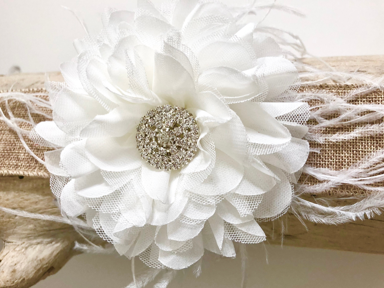 White Flower Hair Clip Bridal Flower Hair Clip Flower Girl Hair