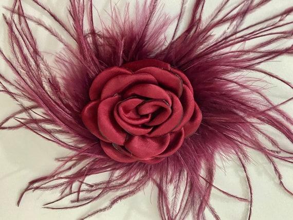 Burgundy Hair Clips, Deep Red Flower Clip, Fall Wedding Floral Clip, Navy Hair Clip, Silver Hair Clip, Feather Chiffon Floral Hair Clip